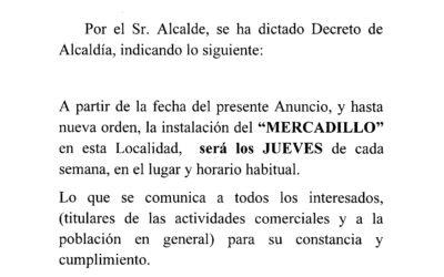 INFORMACIÓN NUEVA APERTURA MERCADILLO MUNICIPAL