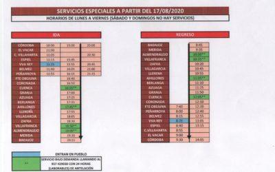 SERVICIOS ESPECIALES (AUTOBUS) A PARTIR DEL 17/08/2020