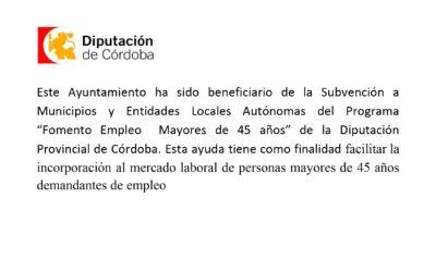 """PROGRAMA """"FOMENTO EMPLEO MAYORES DE 45 AÑOS"""" DE LA DIPUTACIÓN PROVINCIAL DE CÓRDOBA"""