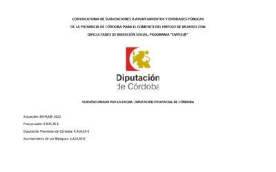 CONVOCATORIA DE SUBVENCIONES A AYUNTAMIENTOS Y ENTIDADES PÚBLICAS DE LA PROVINCIA DE CÓRDOBA PARA EL FOMENTO DEL EMPLEO DE MUJERES CON DIFICULTADES DE INSERCIÓN SOCIAL, PROGRAMA EMPLE@